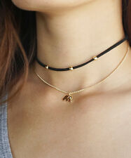 Black Suede Choker with Gold Beads and Elephant Charm Necklace, Thin Black Choke