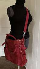 KENNETH COLE Red Plastic Covered Canvas Shoulder Handbag Crossbody Purse Tote