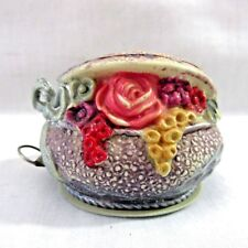 Vtg Celluloid Flower Basket With Partly Open Lid Figural Measuring Tape Measure