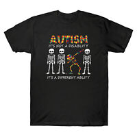Skeleton Autism It's Not A Disability It's A Different Ability Retro Men T Shirt