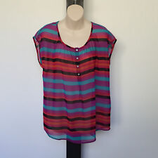 'TARGET' EC SIZE '12'  MULTI STRIPE CAP SLEEVE SHEER TOP WITH FRONT BUTTON TAB