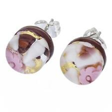 GlassOfVenice Murano Glass Venetian Reflections Round Stud Earrings - Purple Gol
