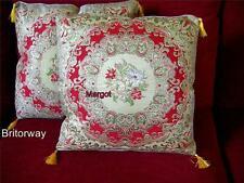 2 x Aubusson Styled Embroidered Tapestry Silk Cushions (Inc cushion Inserts)