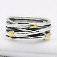 Sterling Silver Ring Eternity Entwined Silver Rose Rope Bands Rings For Women