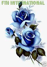 "F46 ~ Blue Rose Spray on 6 Ceramic Decals, 4 1/2"" x 2 1/4"" Flowers Monochromatic"