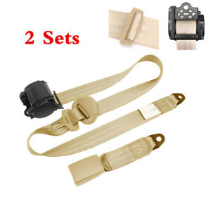 3 Point Car Safety Seat Belt Lap Adjustable Straps Beige w/Quick Release Camlock