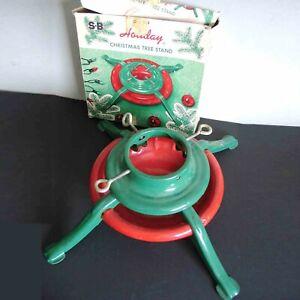 "17"" Vintage SB Metal Christmas Tree Stand Holder Adjustable Original Box FREE SH"