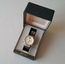Men's Stainless Steel Seiko Moon Phase Quartz Chronograph + Box