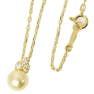 MIKIMOTO Golden Pearl 7mm Diamond Necklace Pendant K18 Yellow Gold 40cm 2.7 g