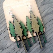 REDWOOD TREE Green Tree Jewelry APPLE & KELLY GREEN laser-cut wood earrings 1282