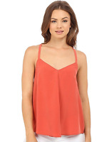 NWT- Joie Dylon Silk Sleeveless Racerback Tank Top, Coral Rose - Size Small
