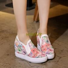 Chic Womens Round Toe Embroidery Floral Wedged Heel Platform Shoes Sneakers Sz