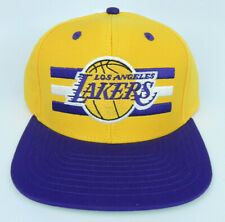 92df236a7ae LOS ANGELES LAKERS NBA VTG STYLE FLAT BILL SNAPBACK 2-TONE 3 BAR CAP HAT