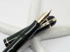 1940's Eversharp Skyline Fountain Pen; Marine Green; 14K Gold Flex Nib; Restored