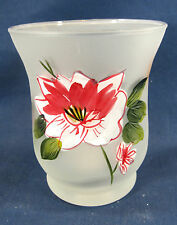 Floral Delight Hand Painted Glass Candle Votive Holder Home Decor