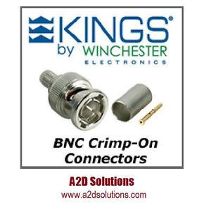 BAG-50 Kings 2065-10-9 BNC Crimp Connectors Belden 1694A, 1695A or Gepco VSD2000