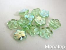 25 8x3mm Flat Flower Beads: Peridot AB