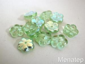 25 8 x 3 mm Flat Flower Beads: Peridot AB