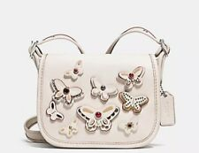 NWT F59360 COACH PATRICIA SADDLE  18 NATURAL LEATHER BUTTERFLY APPLIQUE  BAG