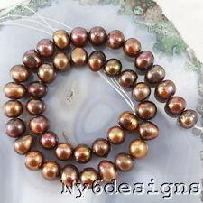 "Ny6design 9x9mm Tahitian Brown Freshwater pearl Round Beads 15"" (PE220)c"
