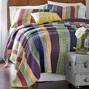 NEW!~ COZY BLUE PURPLE GREY RED GREEN ORANGE NAVY BOHEMIAN COLORFUL QUILT SET