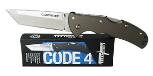 Cold Steel Code 4 Tanto Point Knife S35VN Plain Edge Gray Handle 58PT