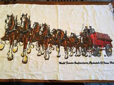 Vintage Budweiser Beer Wagon Clydesdale 8 Horse Hitch Beach Towel 53� X 32�