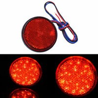 2pcs Red Rear Tail Brake Stop Light Lamp LED Round Reflector For Car Motorcycle