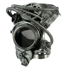 Phantom STEAMPUNK Mens Masquerade Mask | Half Face Mechanical Silver Mask