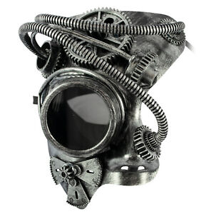 Phantom STEAMPUNK Mens Masquerade Mask | Half Face Mechanical Silver Mask