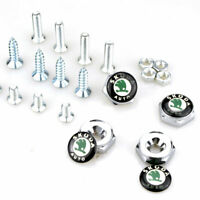 4x Car Anti-Theft Silver License Plate Frame Bolt Nuts Logo Cap Cover for Skoda
