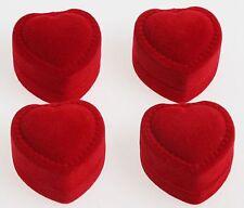 5pcs Red Velvet Heart Engagement Wedding Earring Ring Pendant Jewelry Boxes