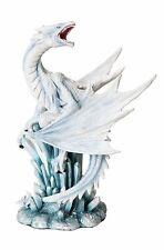 Ptc 10.5 Inch White Ice Dragon on Crystal Mythological Statue Figurine