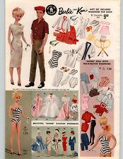 1962 PAPER AD COLOR Mattel Barbie Ken Dolls Striped Bathing Suit