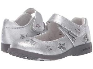 NIB Pediped Sophia Silver Stars Leather Maryjane Shoes US Size 7.5 - 8 , EU 24
