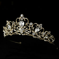 Gold Rhinestone Bridal Wedding Prom Quinceanera Sweet 16 Royal Princess Tiara