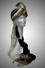 ALADDIN Genie Arabian Nights SULTAN SHIEK SINBAD Men Gold Burgundy TURBAN HAT