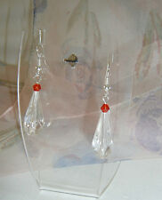 Beautiful Tear Drop Dangle Pierced Earrings Siam Red Crystal Faceted Bicone Bead