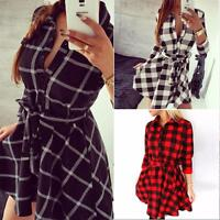 Women Ladies Plaid Romper Skirt Dress Party Mini Shirt Dress