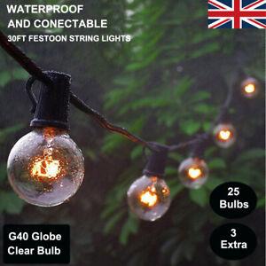 25 Pcs E12 Sockets Outdoor G40 Globe Bulb Festoon String Lights Wedding Party UK