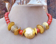 RED CORAL HAMMERED GOLD FOCAL BEAD GEM NECKLACE AFRICAN HANDMADE BRASS BEADS