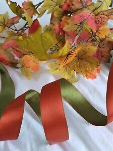 AUTUMN DAYS mulled orange & olive green reversible - Luxury Wire Edge Ribbon