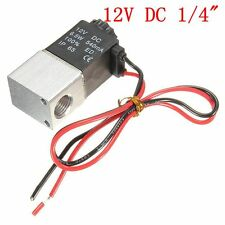 """6.5W 1/4"""" 2 Way Normally Closed Pneumatic Electric Solenoid Air Valve DC 12/24V"""