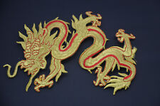 GOLD & RED CHINESE DRAGON 20cm 8' EMBROIDERED SEW IRON ON PATCH APPLIQUE GRRG