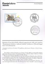 ITALIA 2000 PICCOLI GRUPPI SACRI  BOLLETTINO COMPLETO DI FRANCOBOLLI FDC