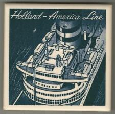Holland America Line Blue Delft Tile .. ss Nieuw Amsterdam ...1939 overhead view