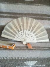 """Vintage Lace Hand Fan Handmade in Philippines 16"""" long 9"""" high perfect condition"""