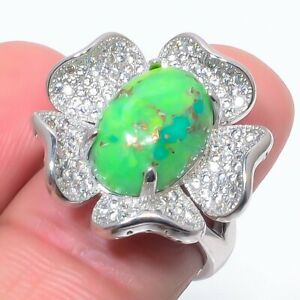 Copper Mohave Green Turquoise & Cz 925 Sterling Silver Ring s.Ad S2636