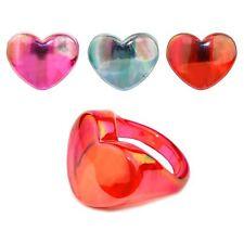 rosa resina cuore anello con Aurora Borealis lustro - Joe Cool vistosa KITSCH