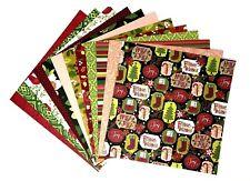 12x12 Cardstock Scrapbook Paper Lot 12 sheets Fun Christmas Prints C27